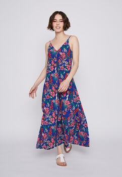 Vestido Pabilo Largo Flores Multicolor Family Shop