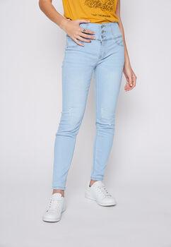 Jeans 3 Botones Destroyer Pitillo Push Up Celeste Family Shop