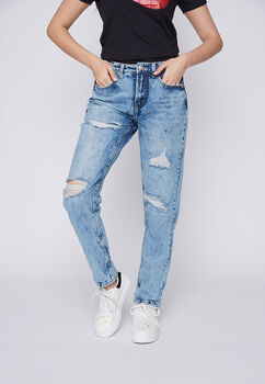 JEANS MUJER  MOM DESTROYED AZUL