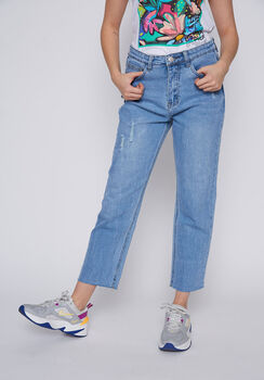 JEANS MUJER RECTO DESTROYED AZUL